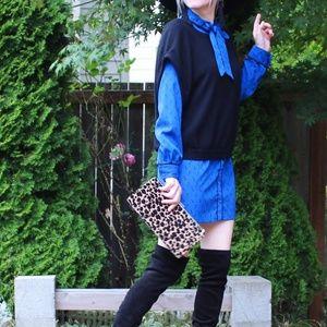 UO Cooperative Heart Key Mini Dress w Bow SZ S
